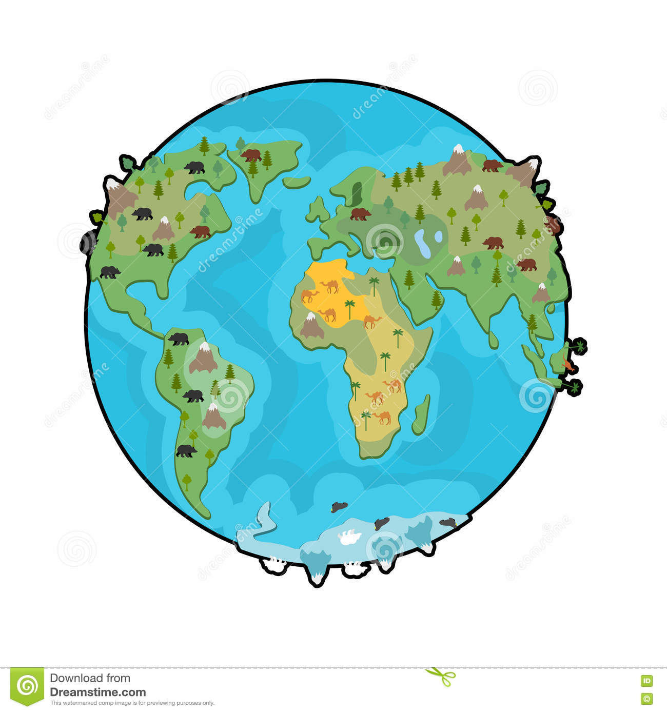 Planet earth and animals beast on continents world map geogra planet earth and animals beast on continents world map geogra animal geography gumiabroncs Images