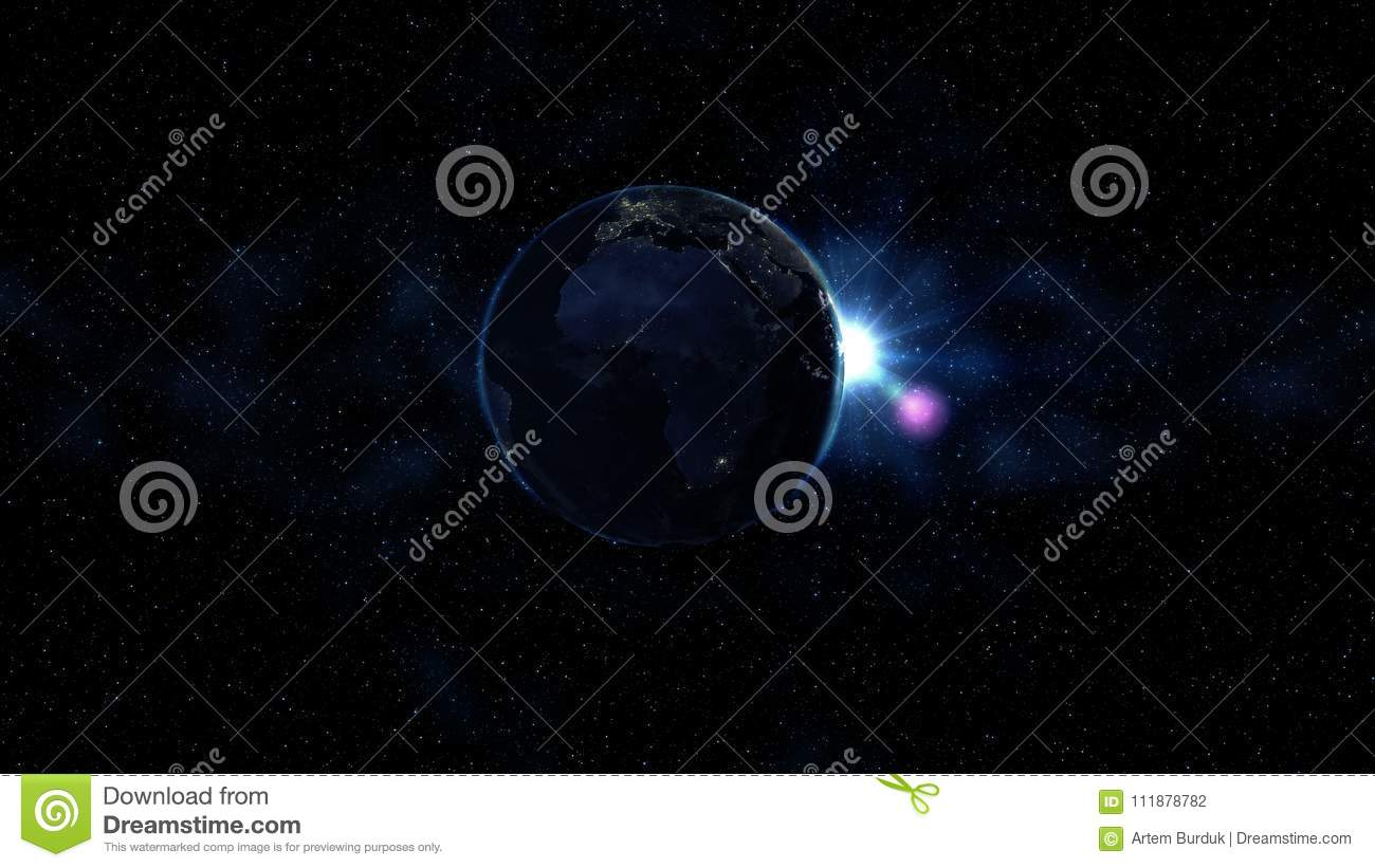Planet Earth in black and blue Universe of stars. Milky Way in the background. Day and night city lights changes. North and South