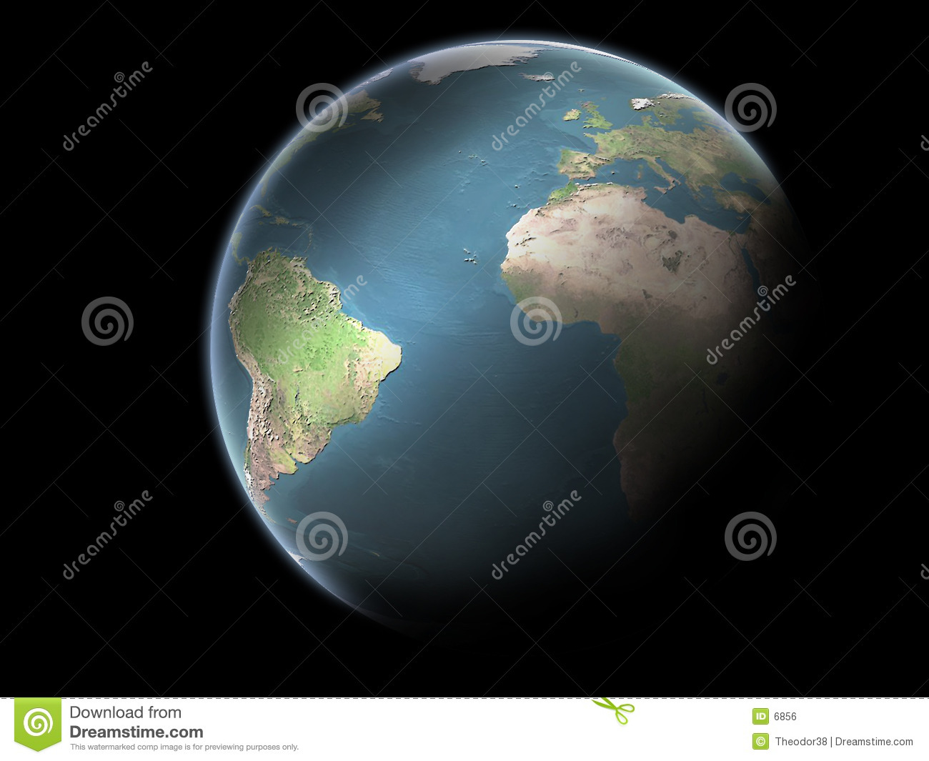 Planet Earth without clouds