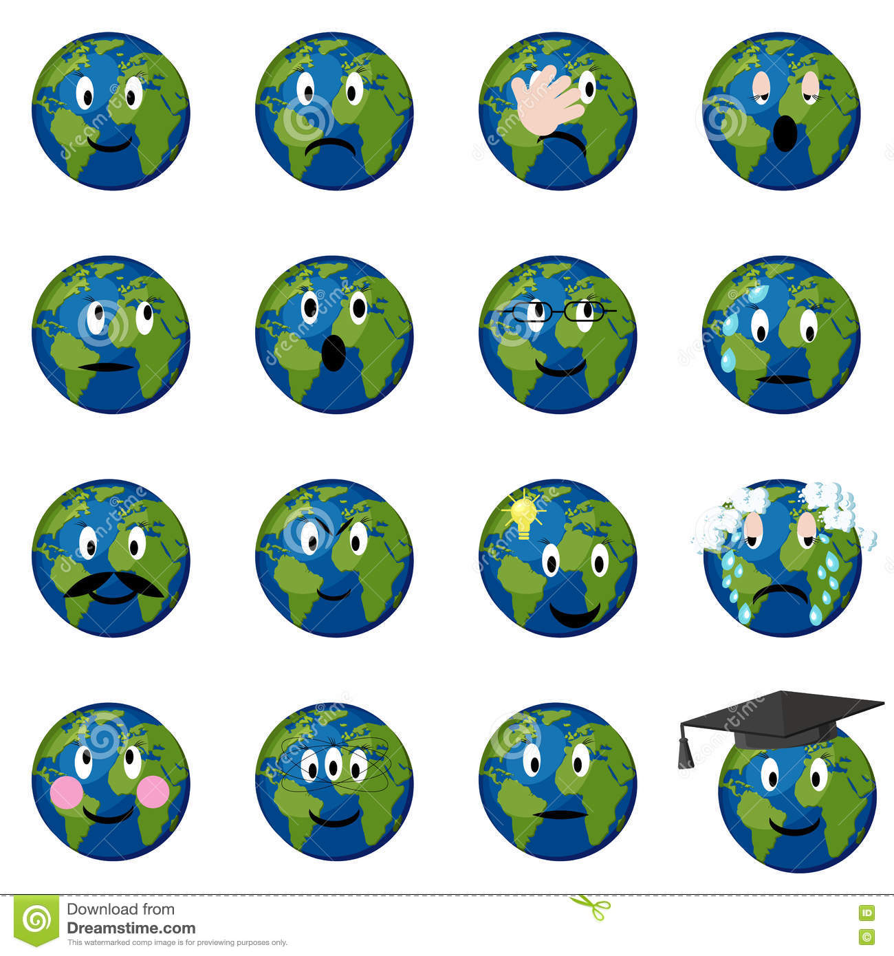 Planet Earth Emoticons Set  Stock Vector - Illustration of nature