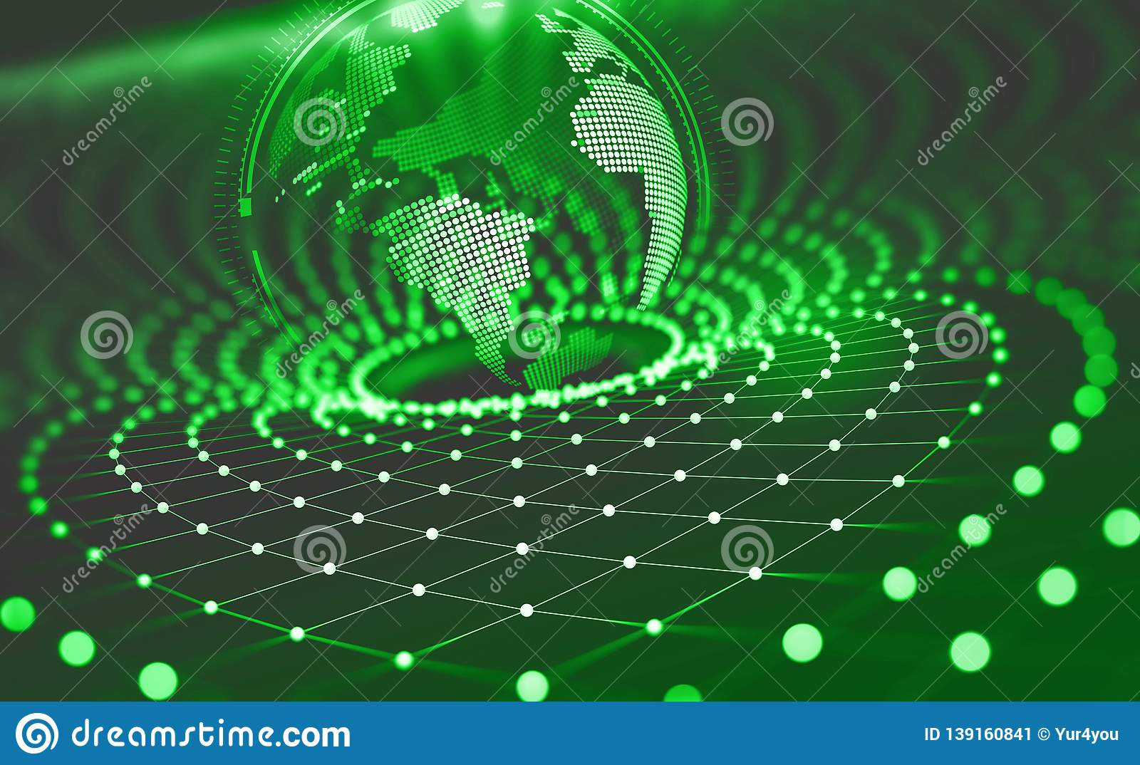 Planet Earth in the era of digital technology. Global communication networks of future. Data storage system