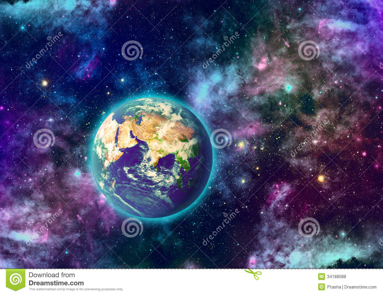Planet earth and galaxy stock illustration illustration of planet 34188088 - Galaxy and planets ...