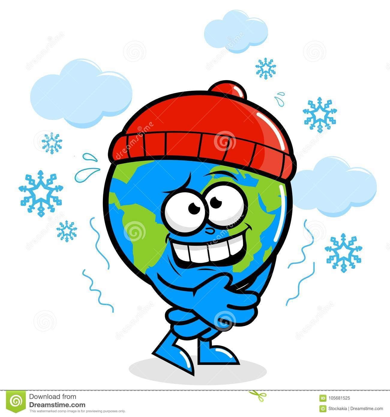 Planet Earth Getting Cold In Winter Stock Vector