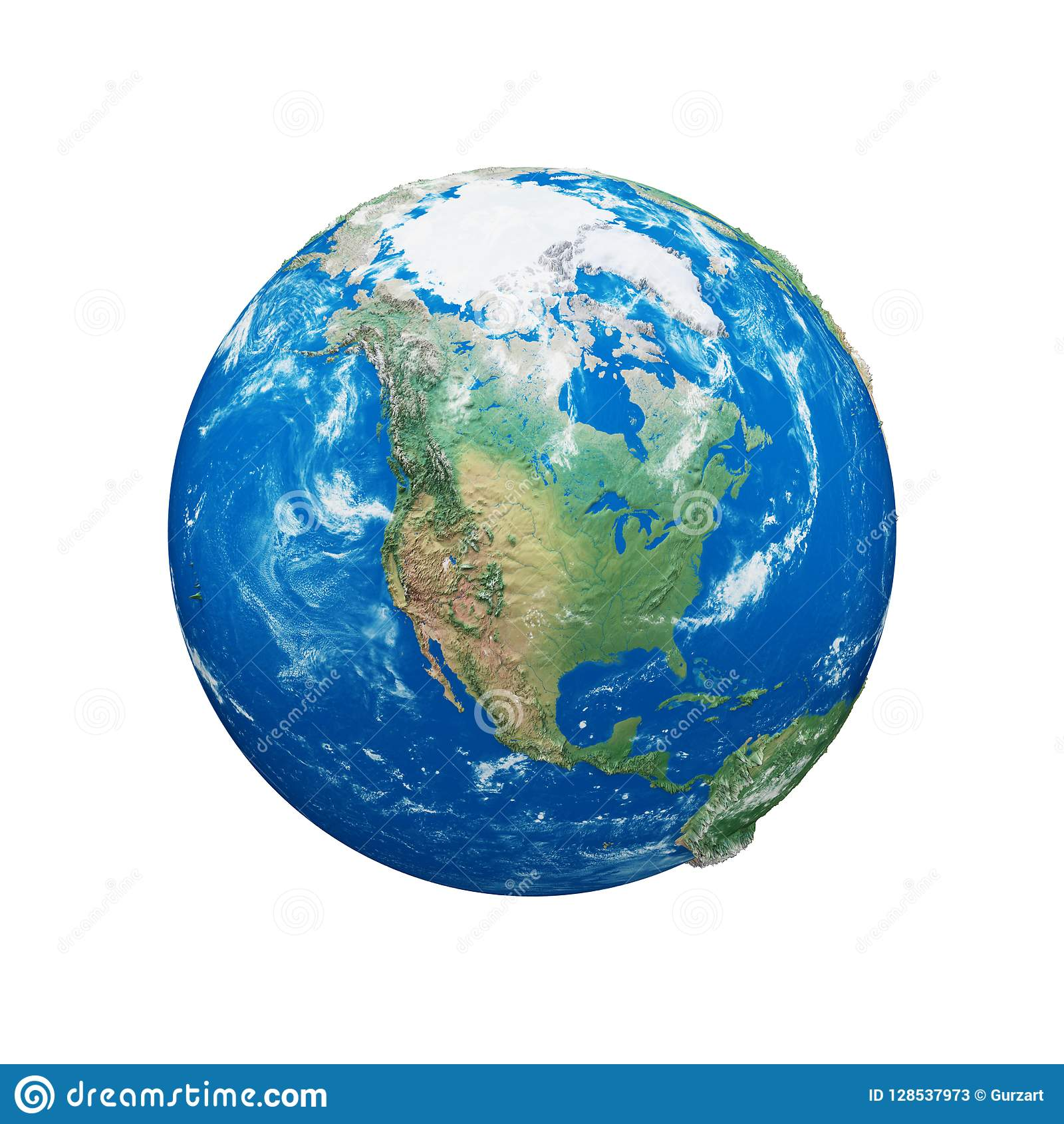 Planet Earth Globe Isolated On White Background Blue And Green