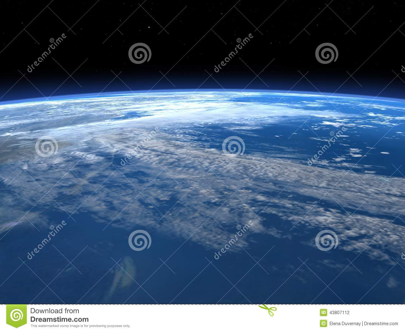 Planet earth horizon in space 3d render stock for Space in 3d
