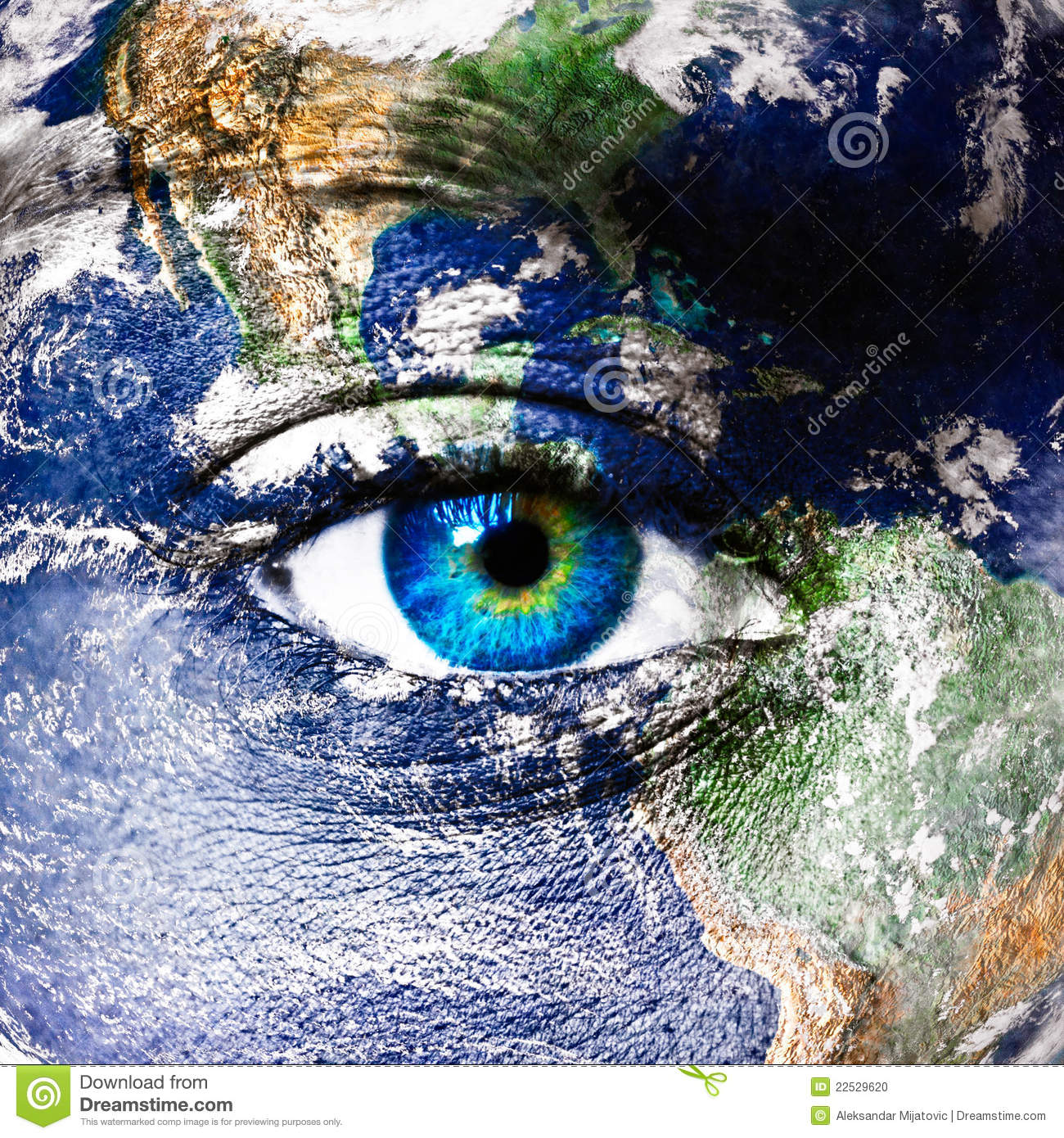 Planet Earth And Human Eye Stock Photo - Image: 22529620