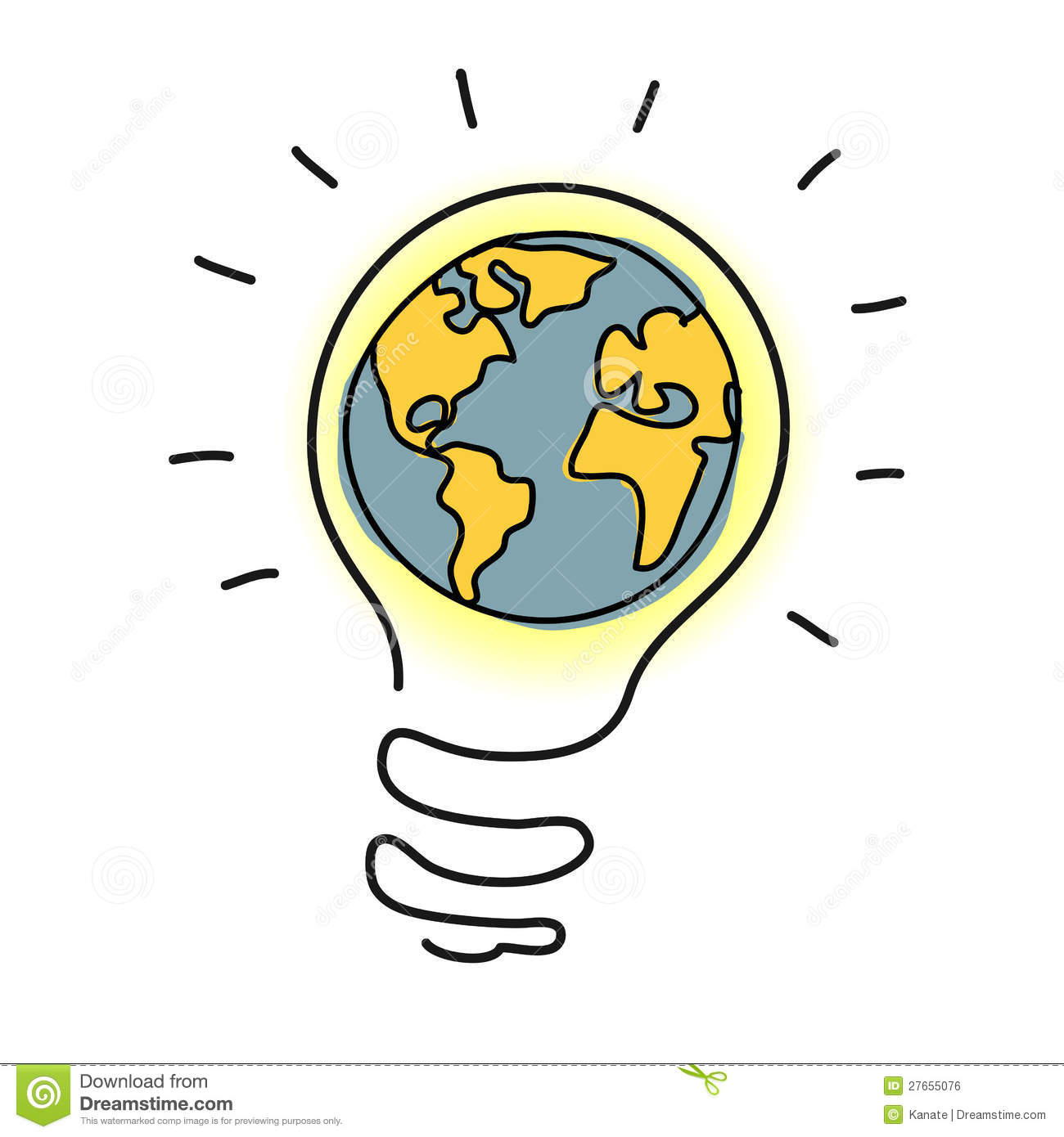 Planet Earth In Light Bulb Cartoon Royalty Free Stock