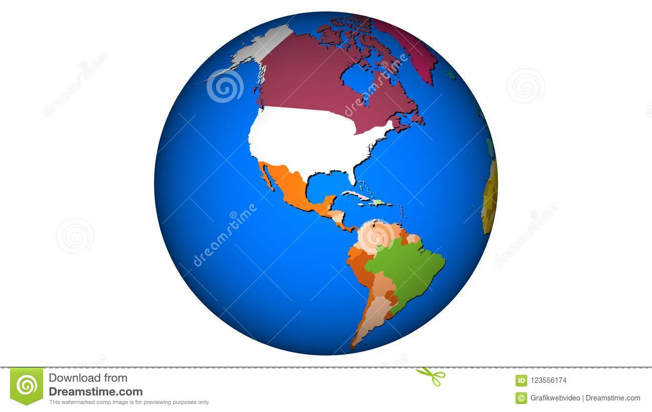 PlaEarth   Map USA Sphere World 002 Stock Illustration