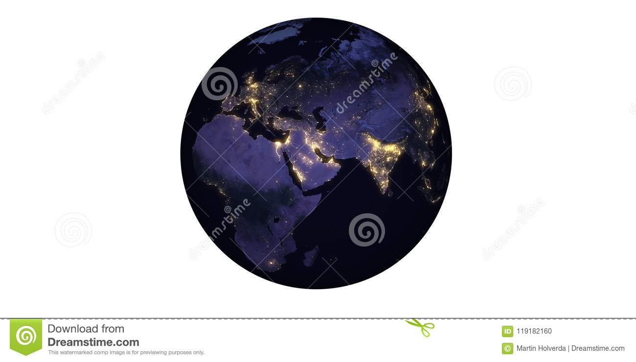 Planet earth at night seen from space llights