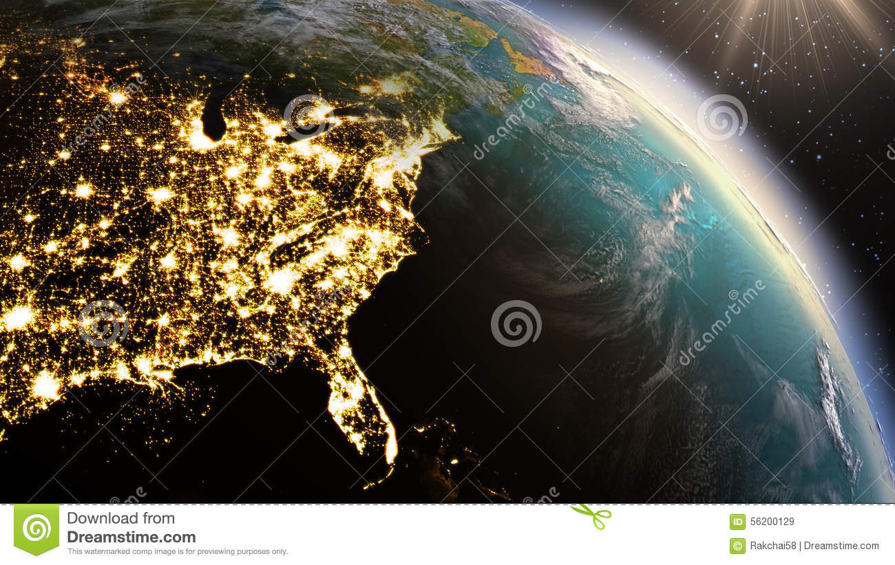 Planet Earth North America Zone Using Satellite Imagery ...