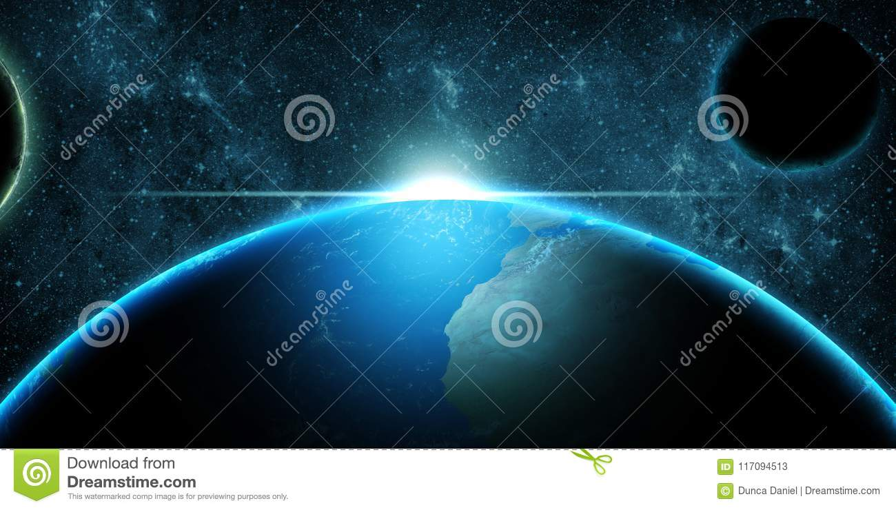 Planet Earth over deep space fantasy background
