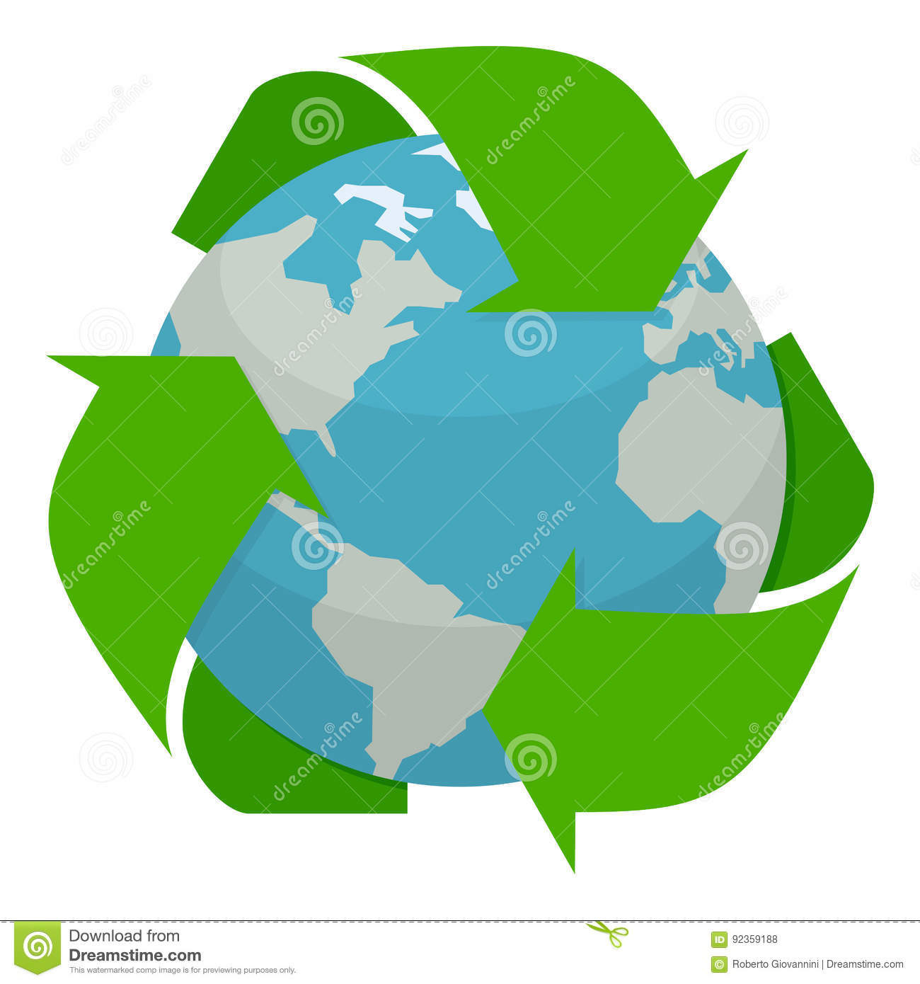 Planet earth with recycle symbol flat icon stock vector planet earth with recycle symbol flat icon buycottarizona Choice Image