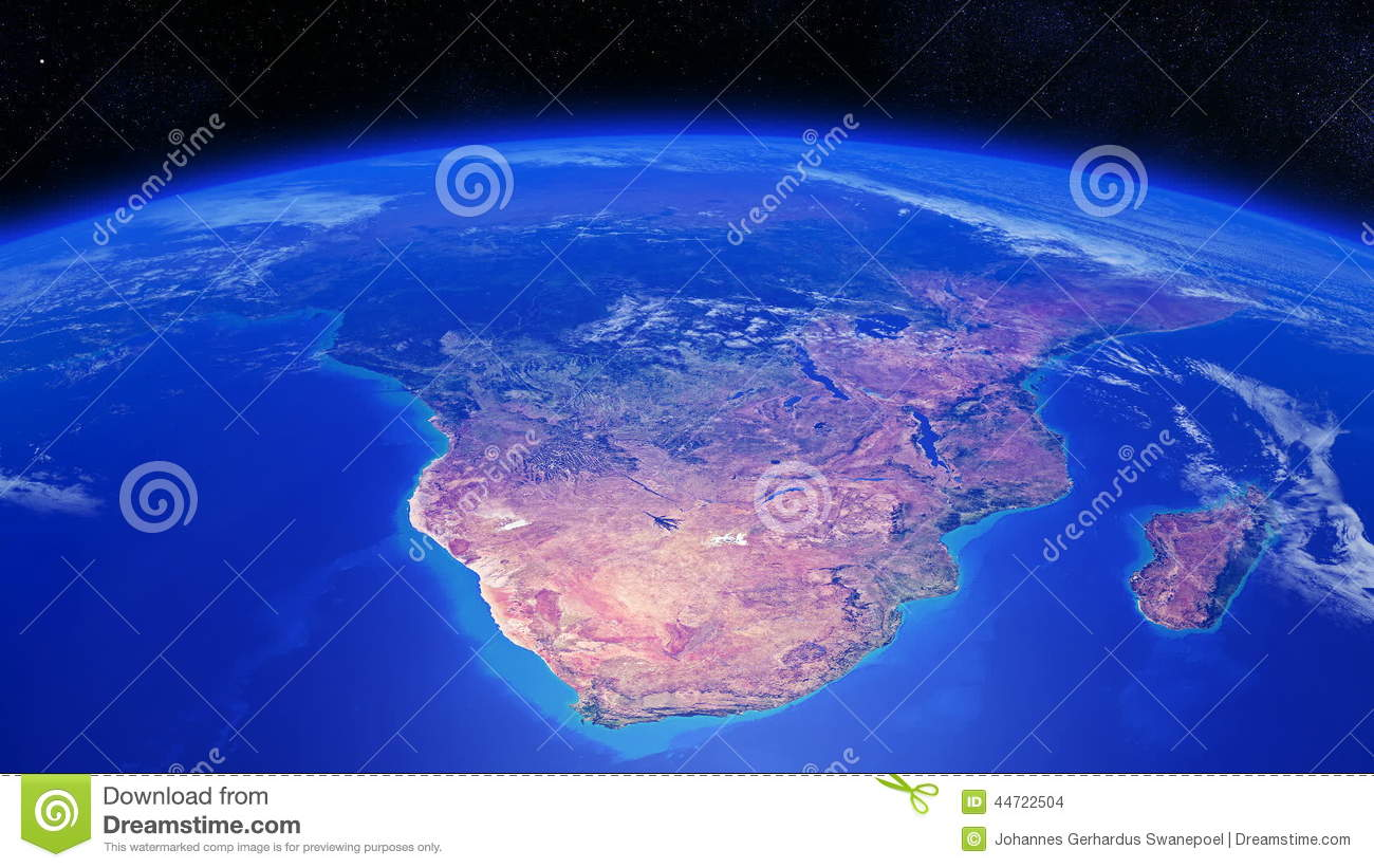 Planet Earth Rotating Over Southern Africa With Light Clouds Stock