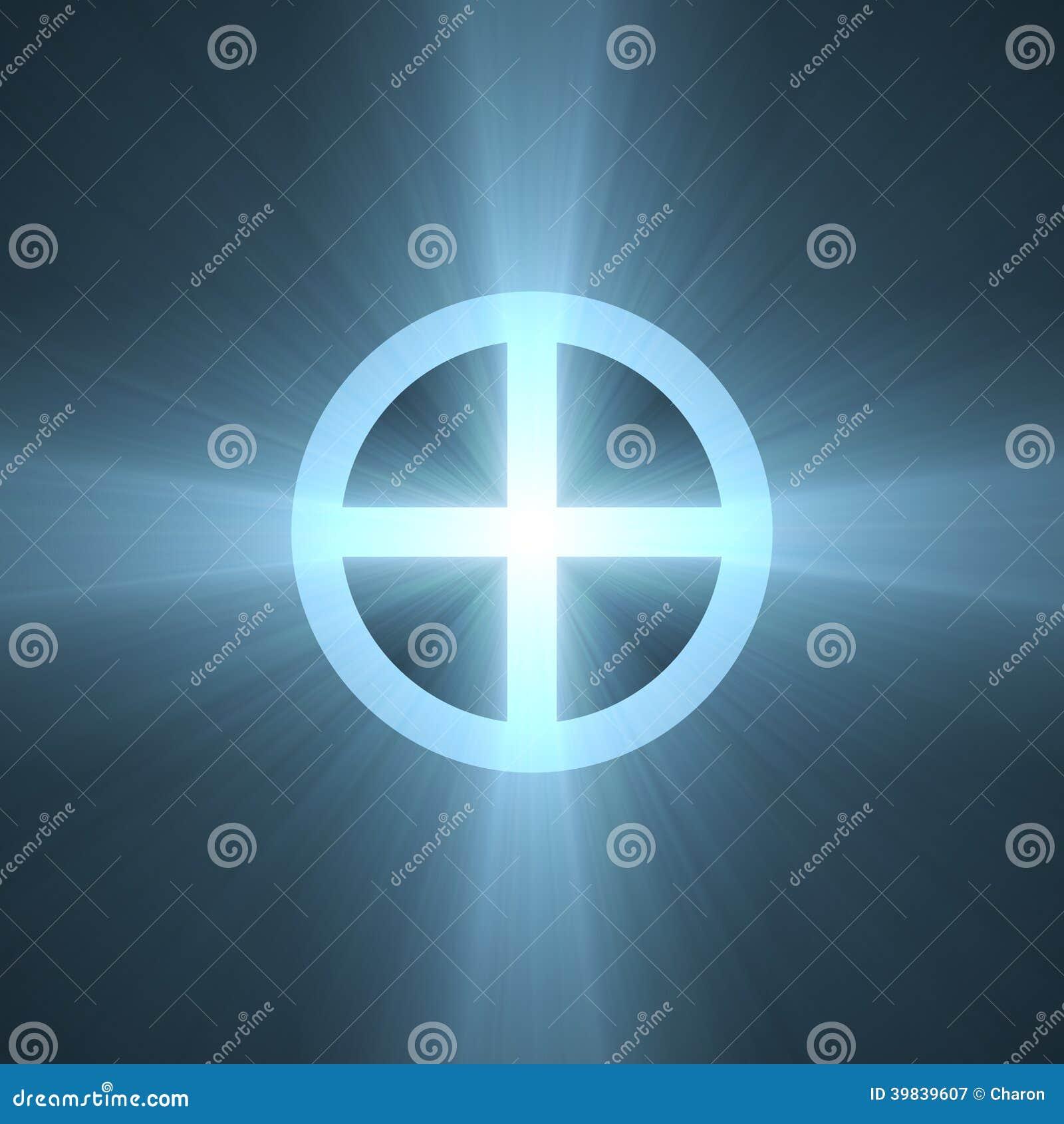 Planet Earth Sign Cross Circle Halo Stock Illustration