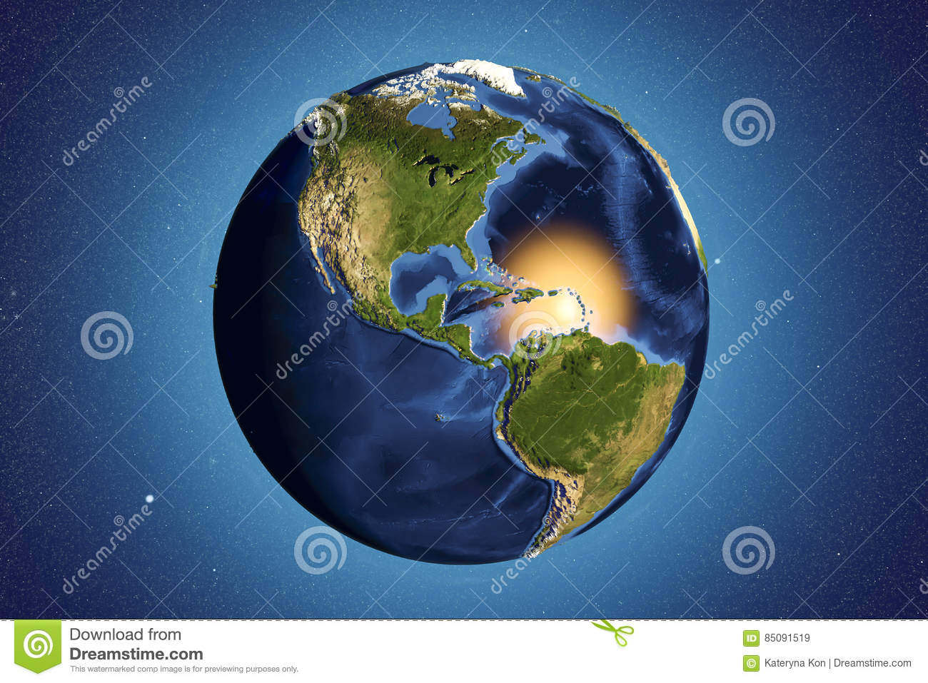 3d Globe Map Bump Map.Planet Earth From Space Showing Americas Stock Illustration