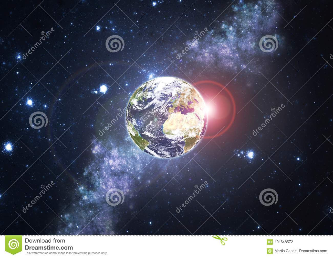 Planet Earth with stars and Sun