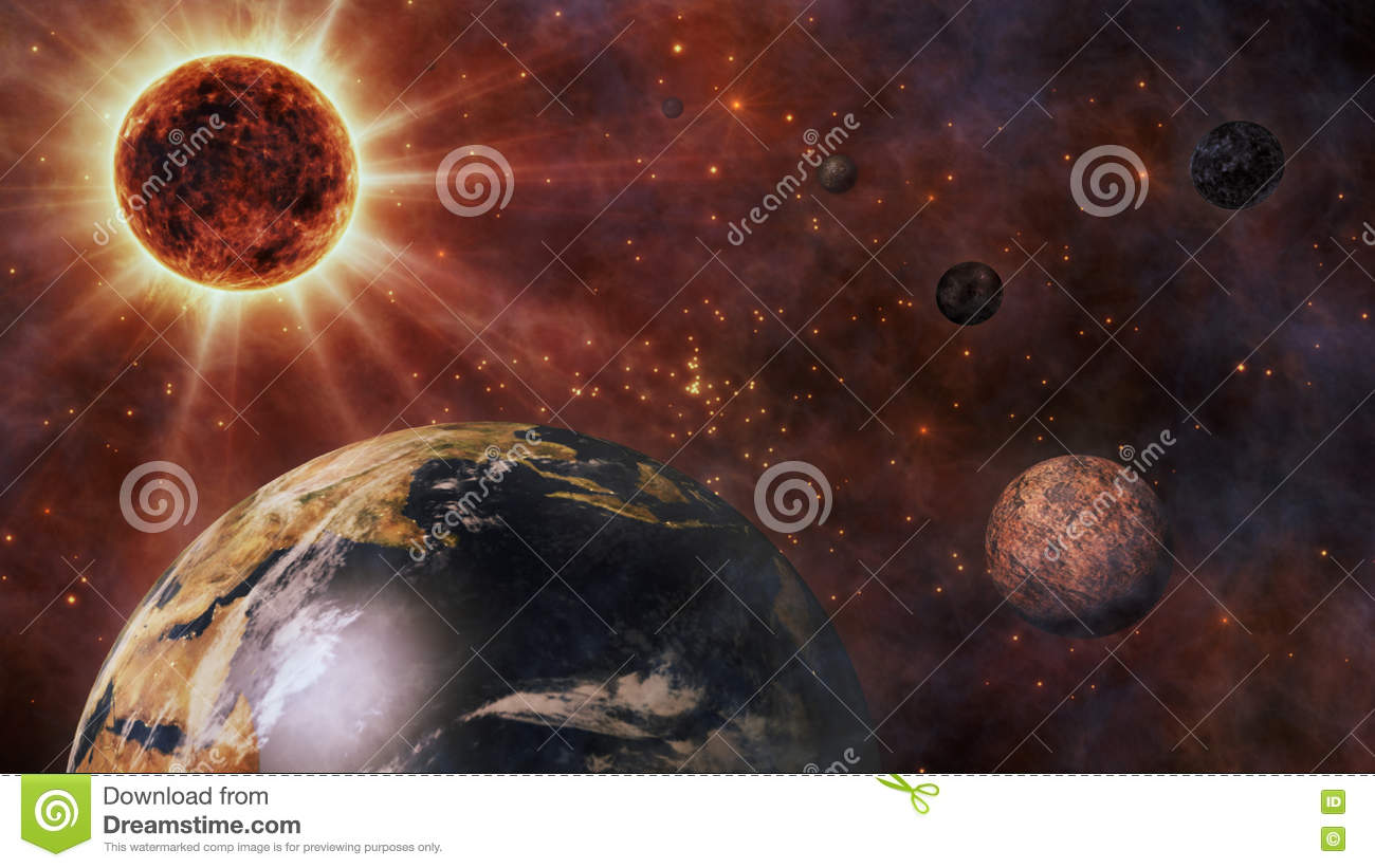 Planet Earth, The Sun, The Moon and Planets 3D Rendering