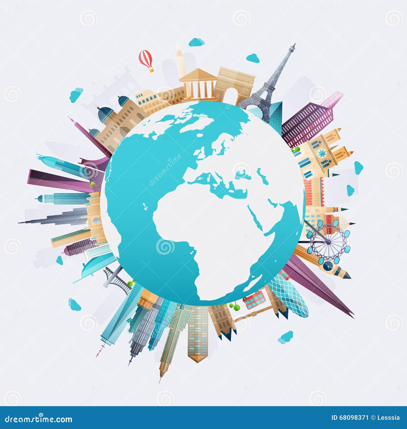 planet earth travel the world stock vector illustration