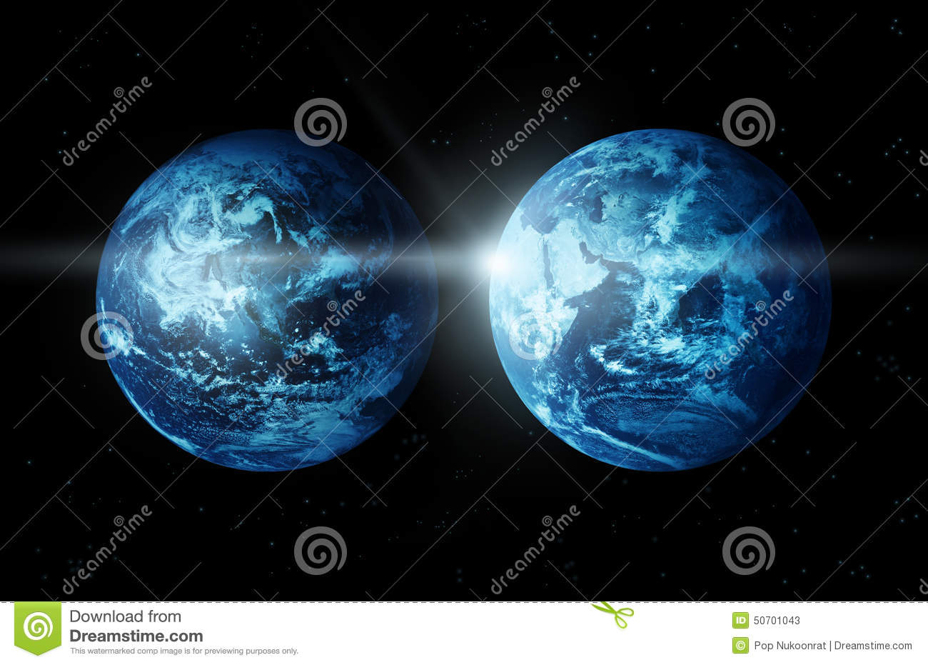 Planet earth two continent with sun rising from space-original image ...