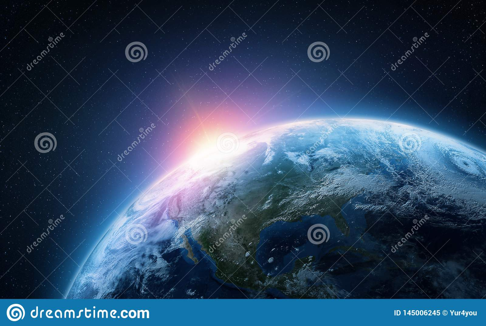 Planet Earth. View from space orbit. Photorealistic illustration