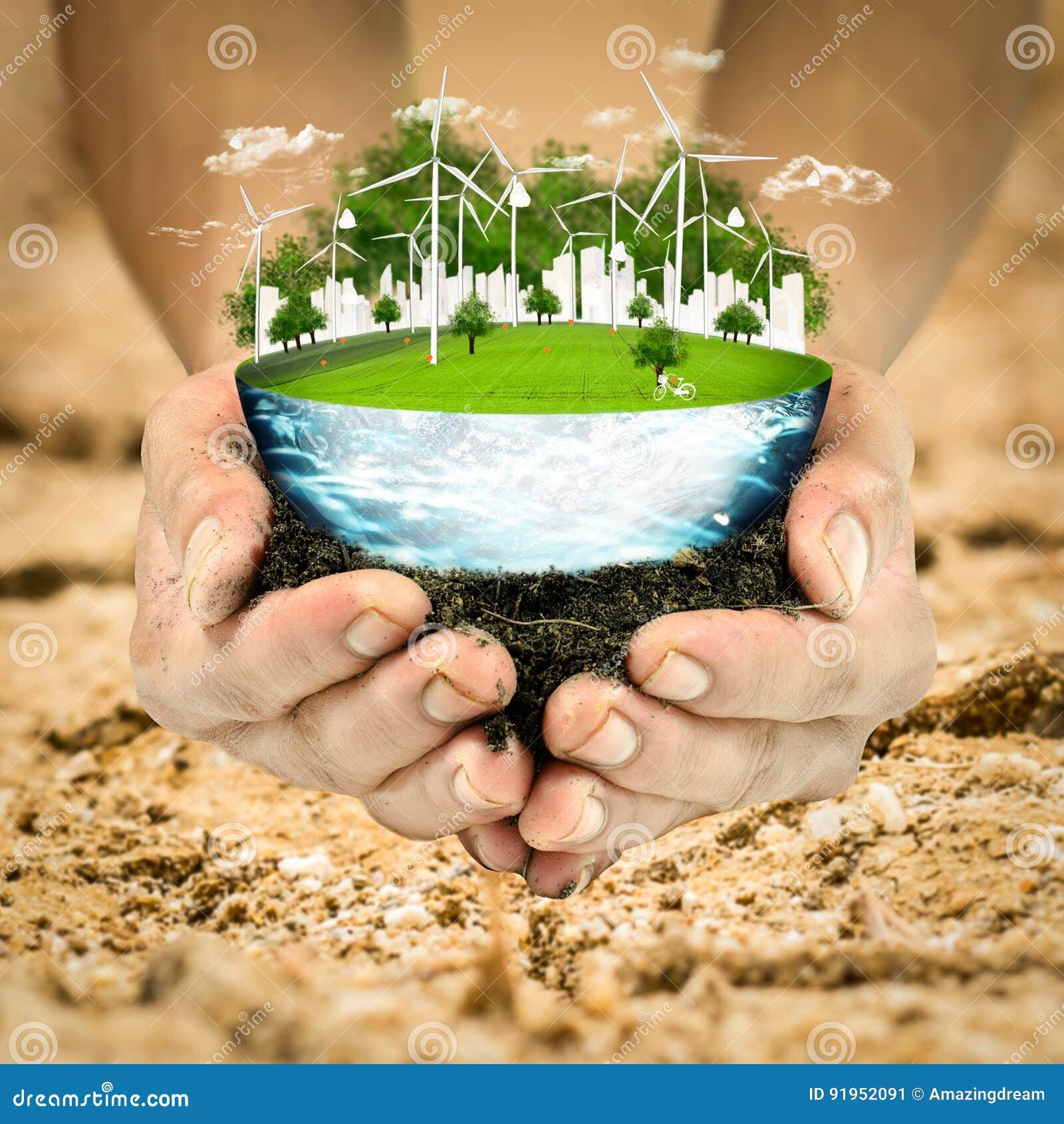 Planet för green för gräs för jordklot för begreppsjord nytt Miljö för ekologi för natur för rengöring för vindturbin