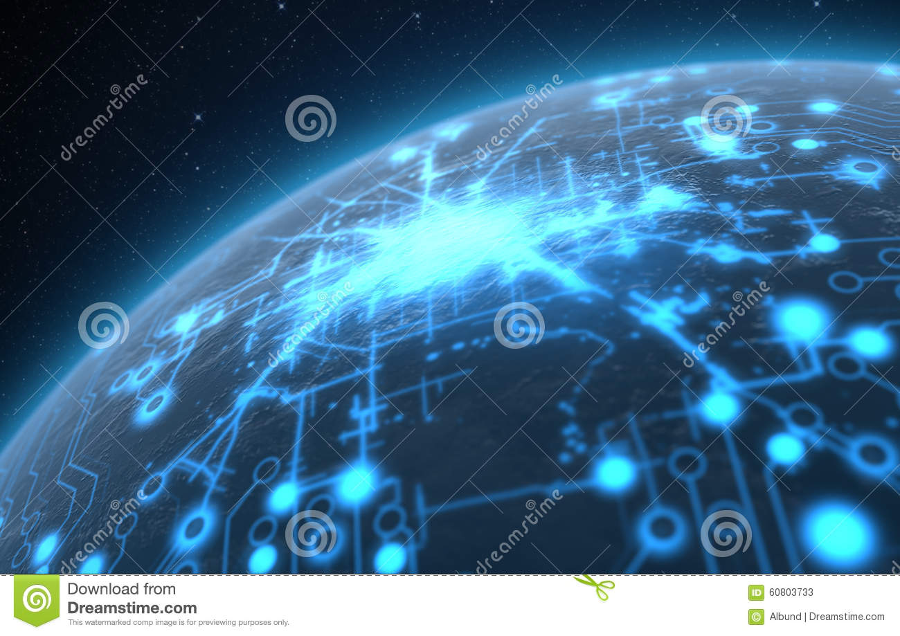 Download Planet With Illuminated Network Stock Illustration - Illustration of globe, illuminated: 60803733