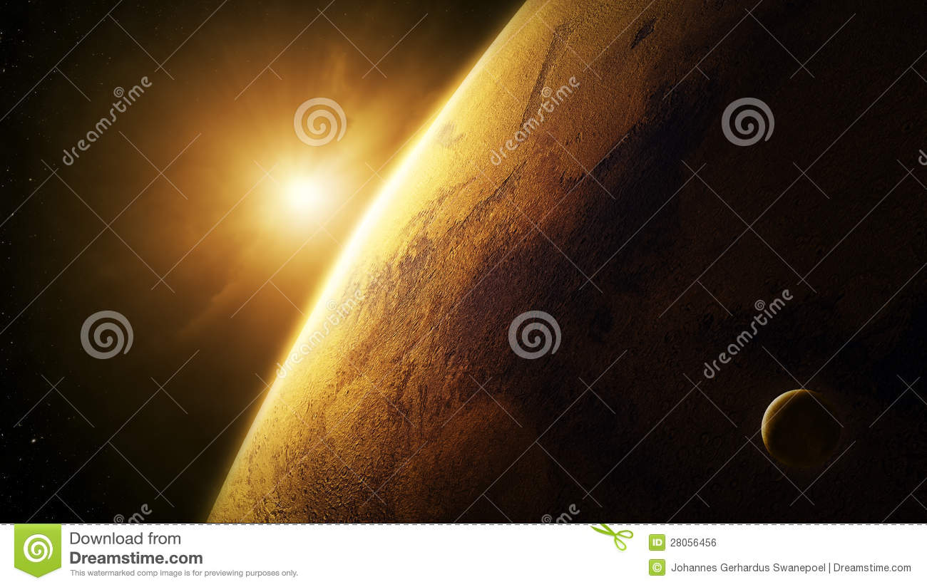 Planet Mars Close-up With Sunrise In Space Royalty Free ...