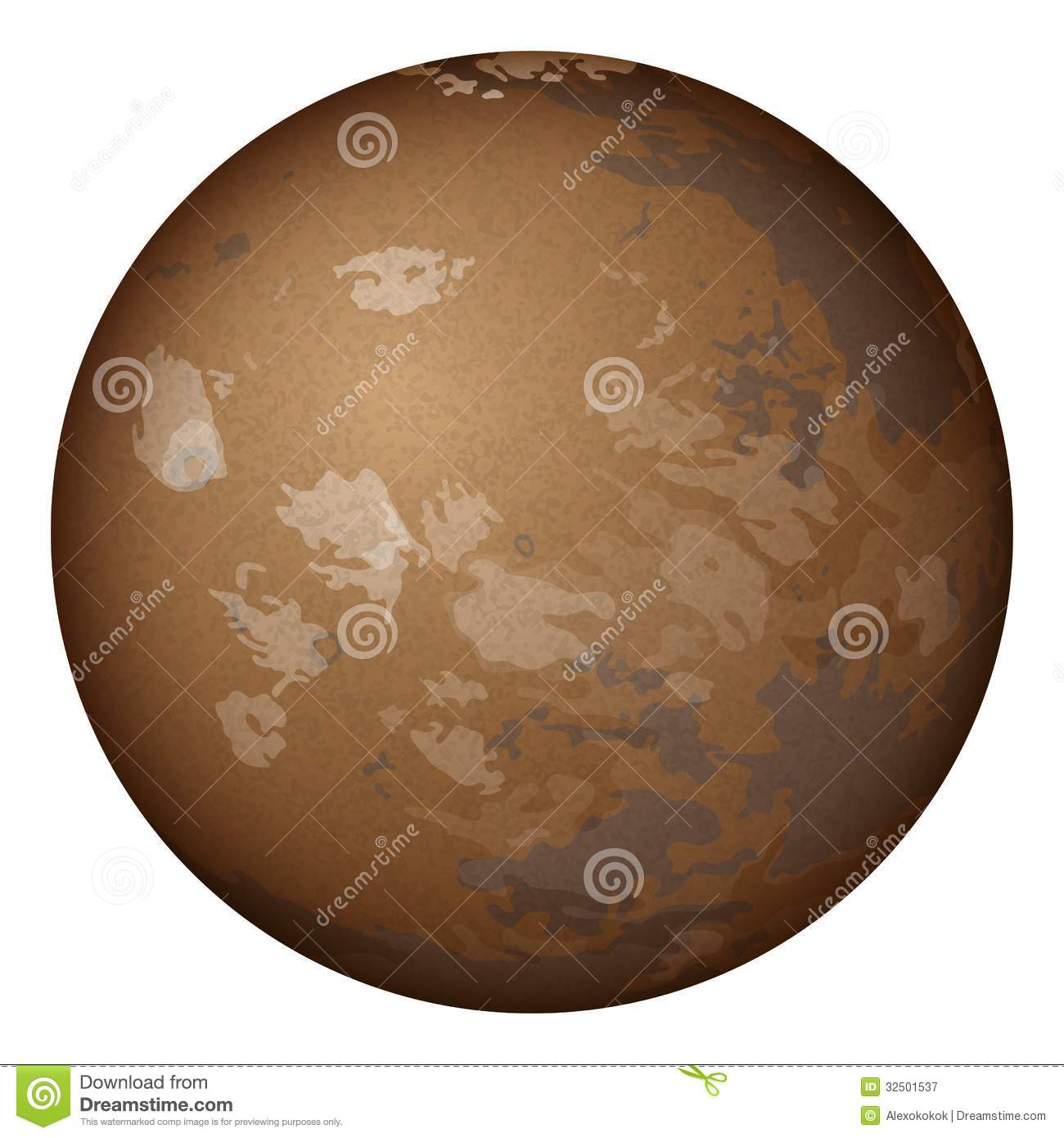 planet mars isolated on white stock vector illustration