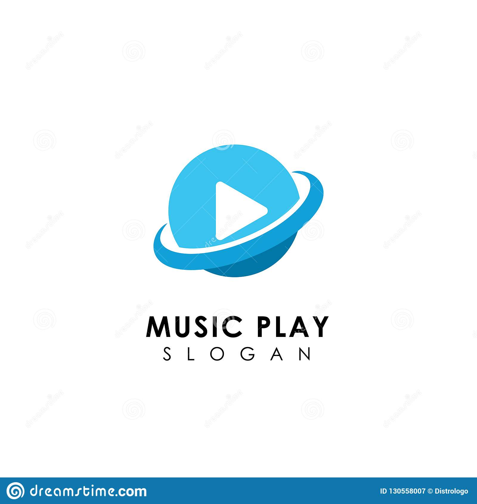Planet Music Player Logo Design Template  Music Play Icon