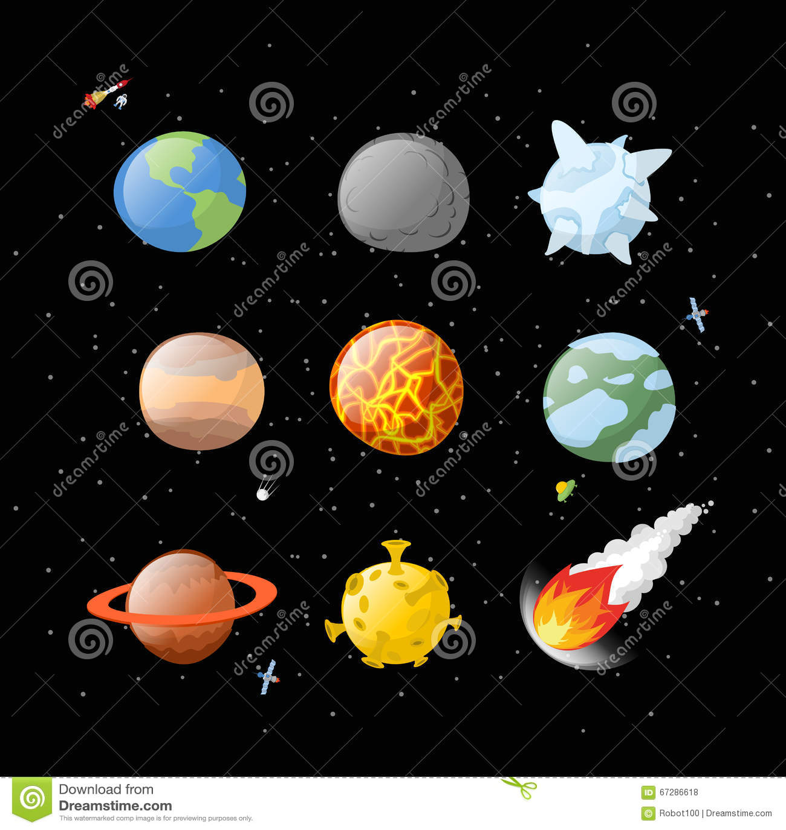 Planet set dark background. Dark space. Planets of solar system