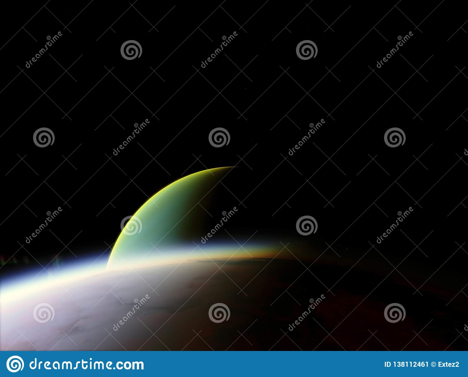 Planet In The Space Colorful Art Solar System Gradient Color Space Wallpaper High Quality Resolution 4k Elements Stock Illustration Illustration Of Green Concept 138112461