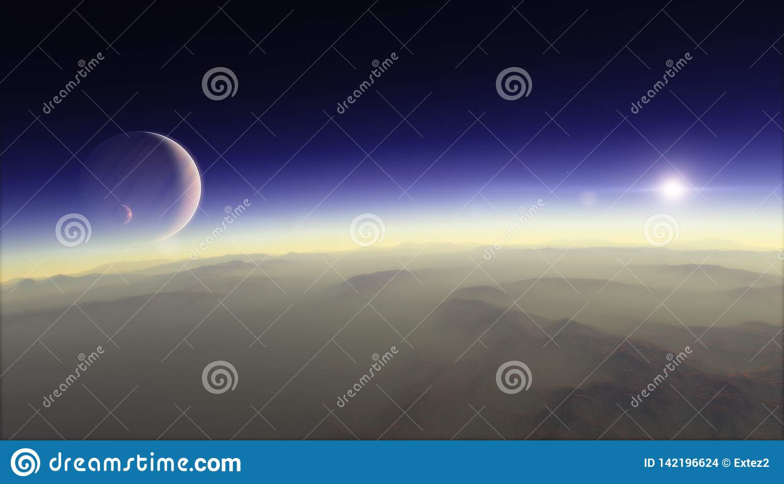 Planet In The Space Colorful Art Solar System Gradient