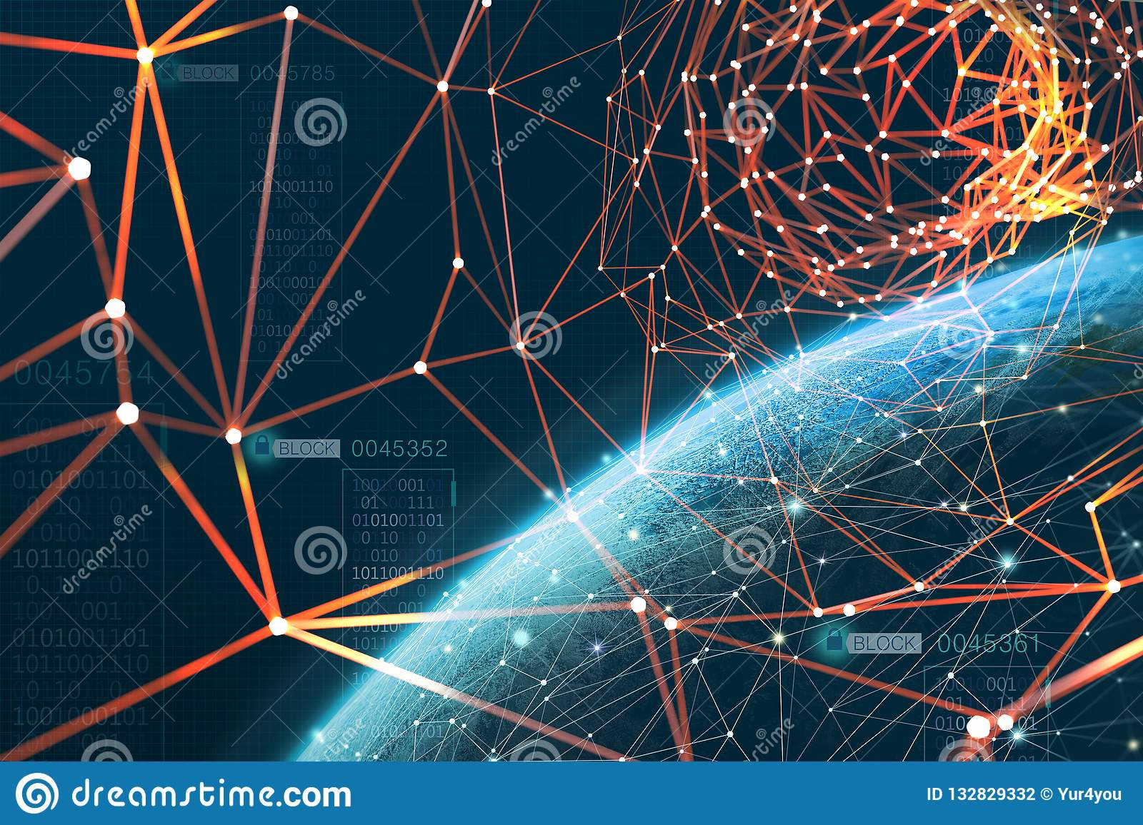 The planet is surrounded by a global information network. Blockchain technology protects data. Era of artificial intelligence