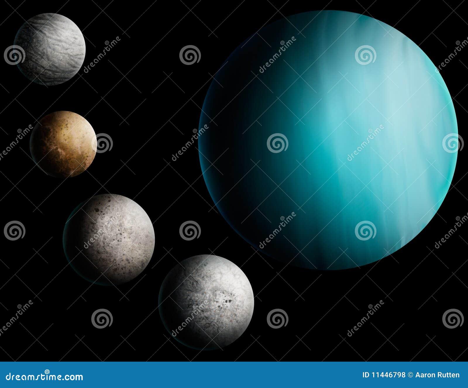 Planet Uranus Digital Art Illustration Royalty Free Stock