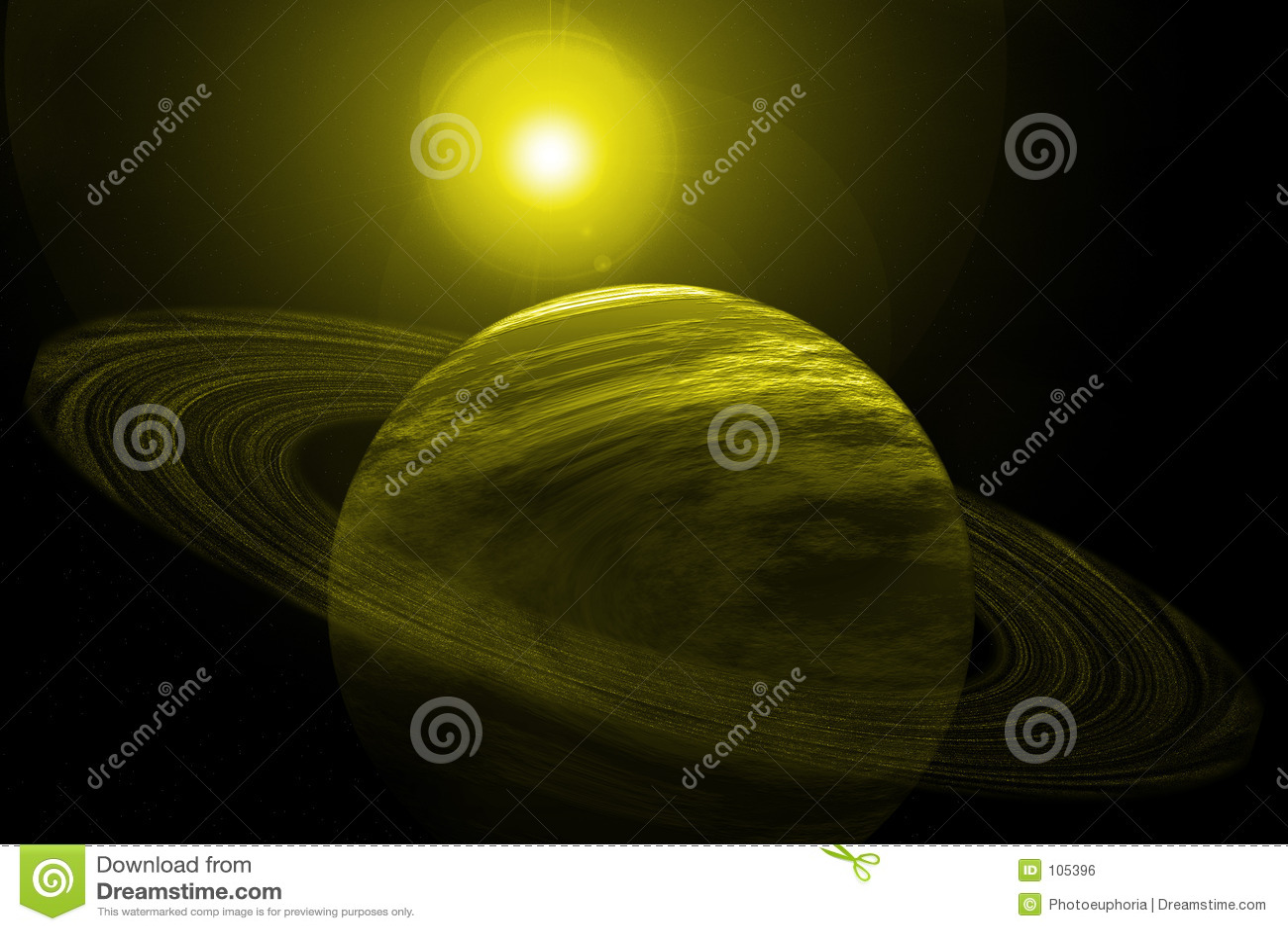 Planeta amarelo com anéis, estrelas e Sun