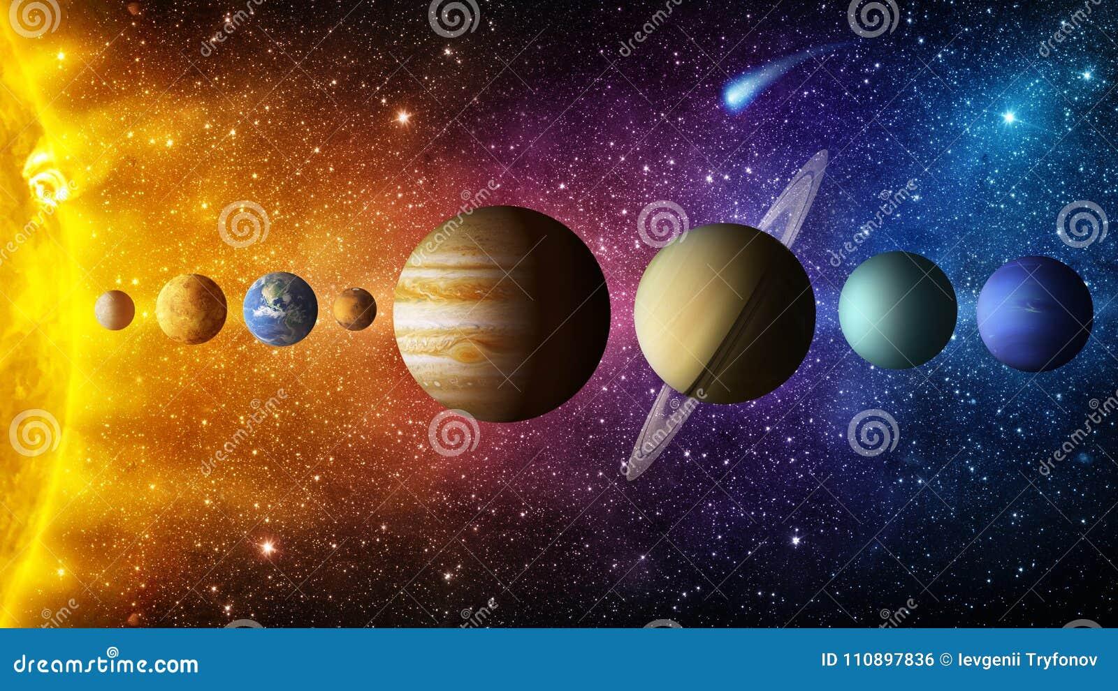 Planeta, cometa, sol e estrela do sistema solar Elementos desta imagem fornecidos pela NASA