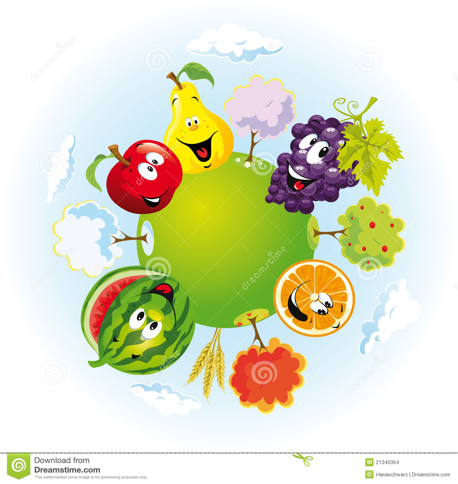 Planeta con las frutas felices
