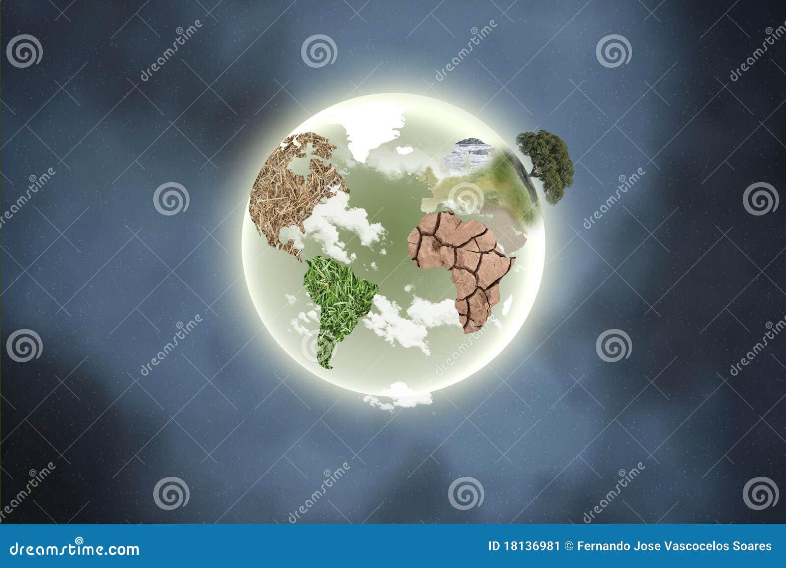 Planeta con los continentes