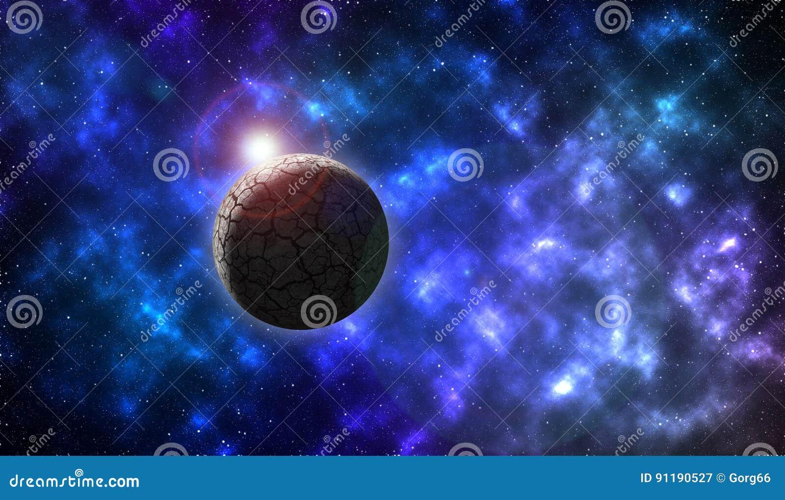 Planeta de la roca en espacio profundo