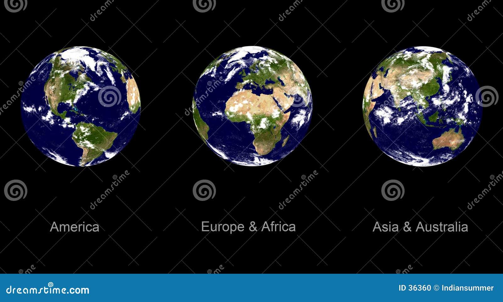 Download Planeta De La Tierra, Tres ángulos Stock de ilustración - Ilustración de noche, luna: 36360