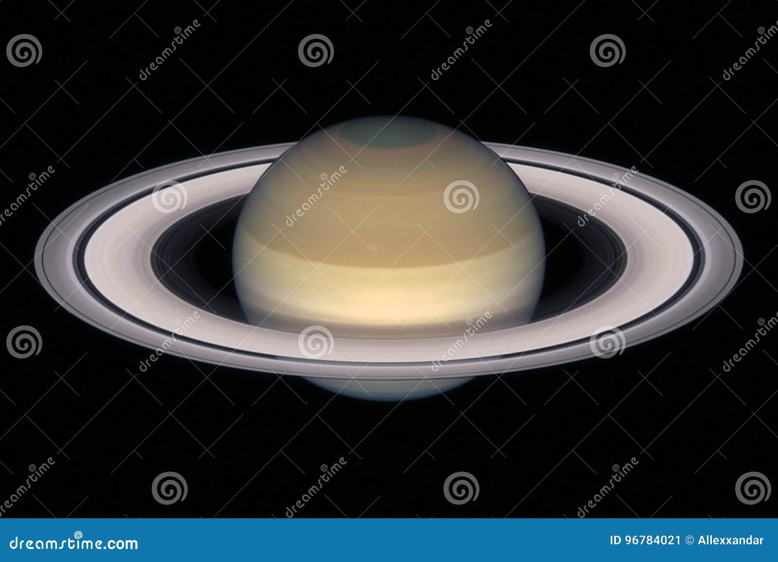 Planeta de Saturn, isolado no preto