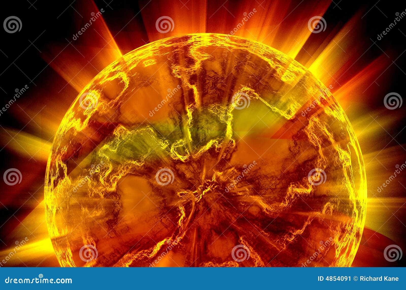 Planeta que brilla intensamente, orbe que brilla intensamente