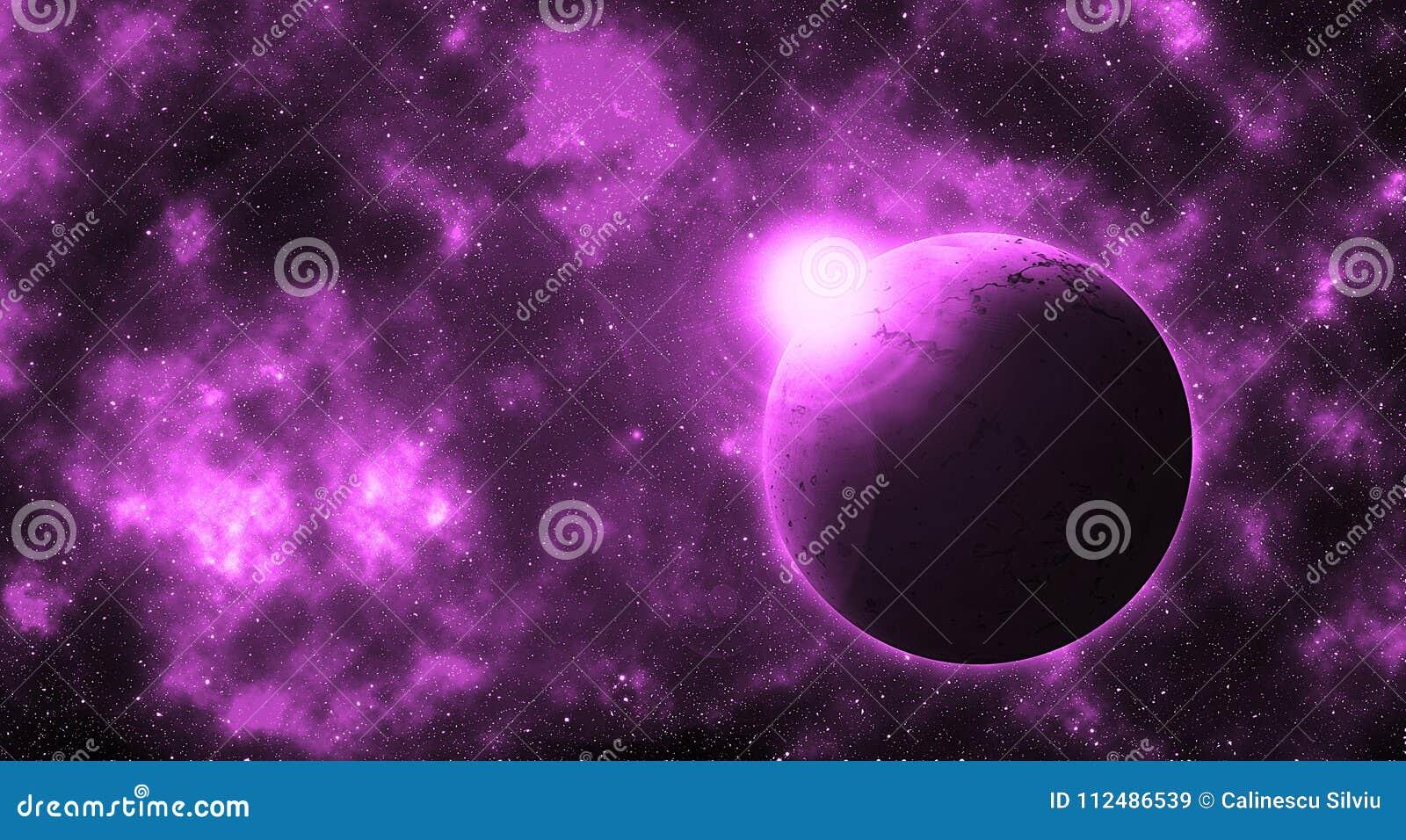 Planeta redondo de la fantasía en la galaxia futura violeta