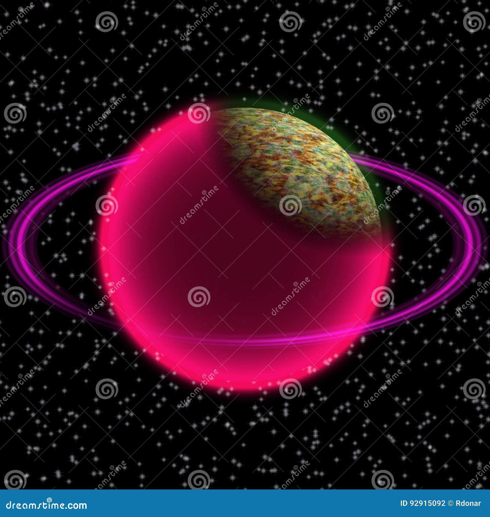 Planeta Shinning no uniferse distante Planeta abstrato com anel colorido em algum lugar