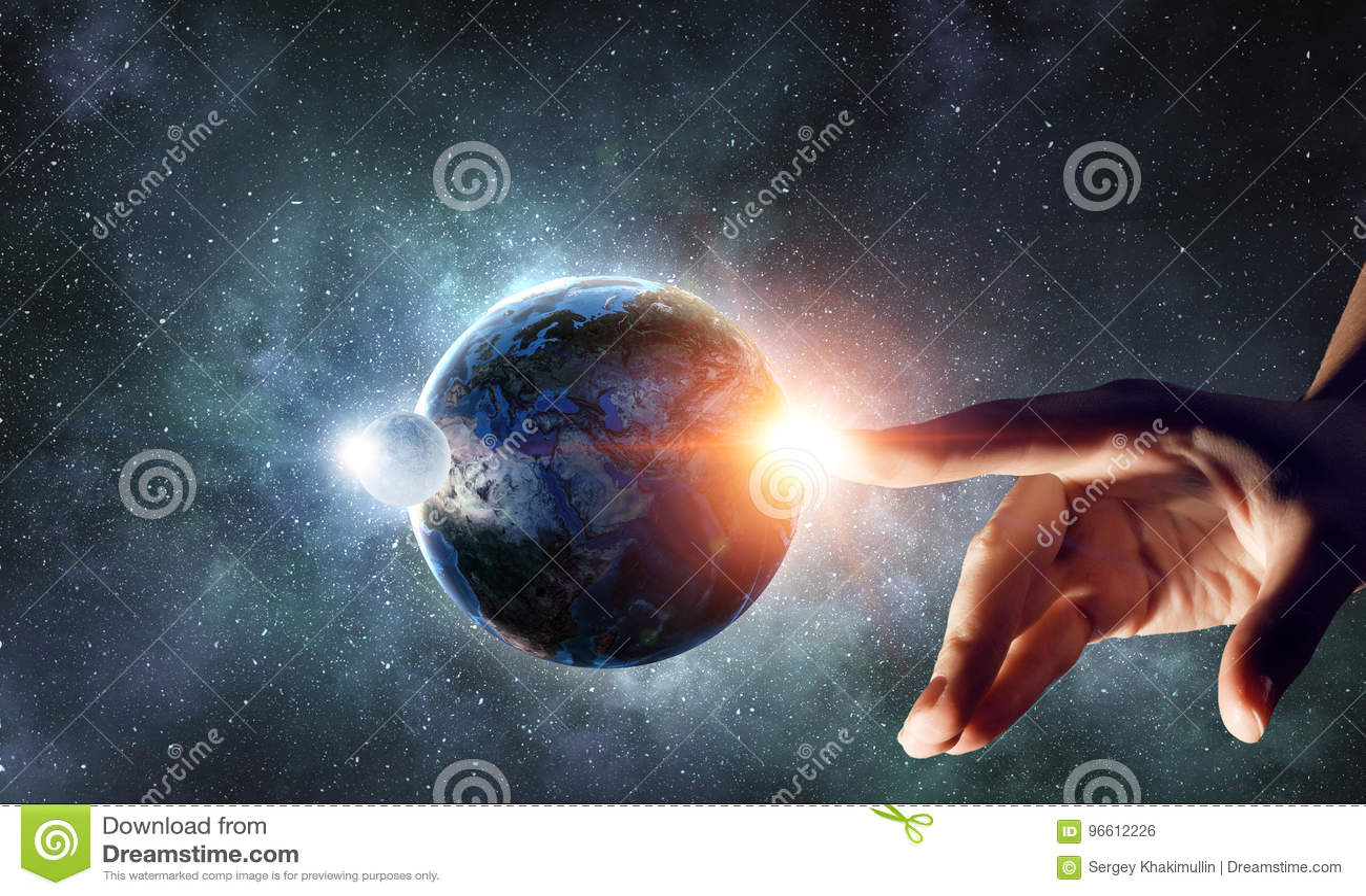 Planeta tocante com dedo