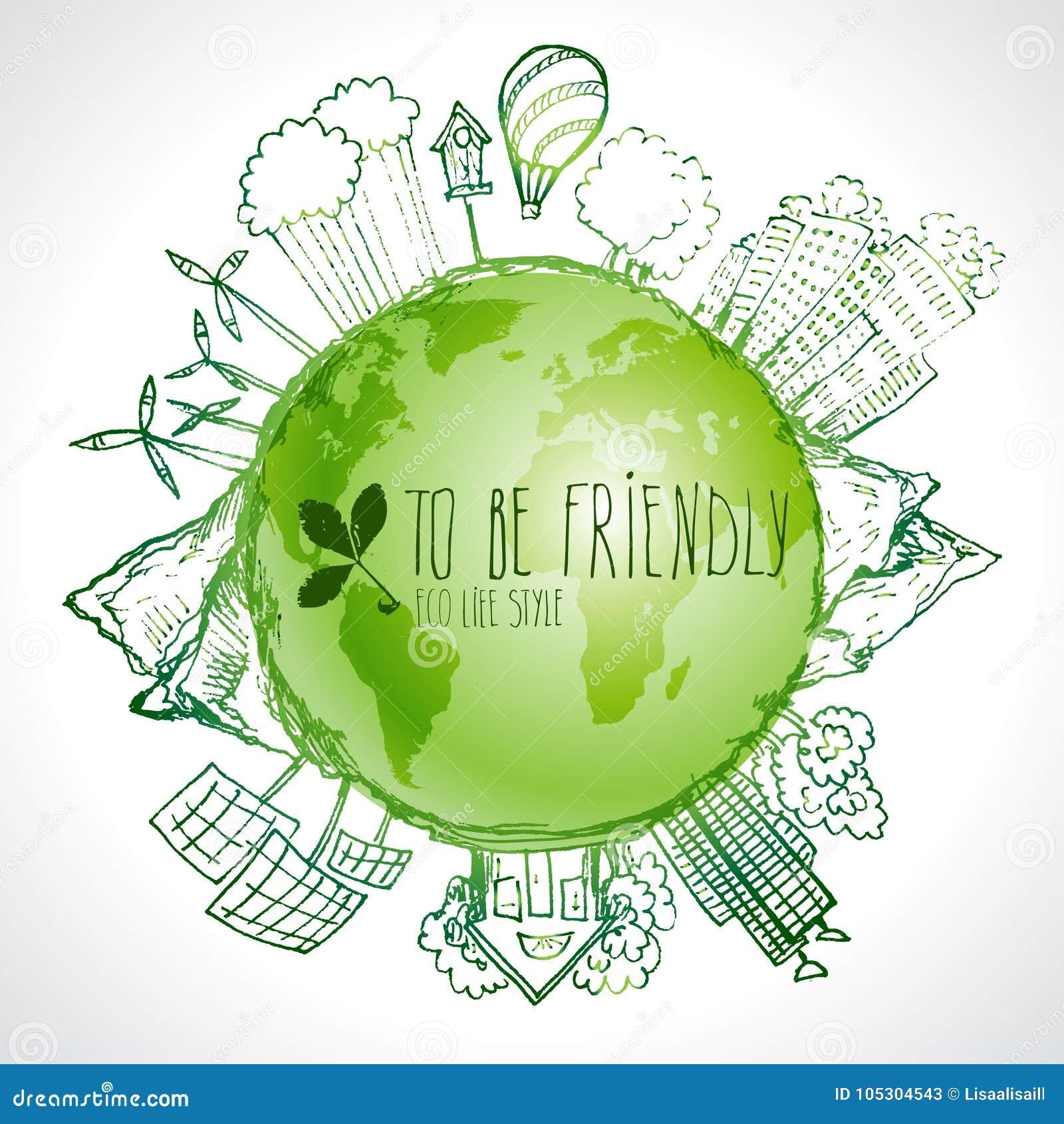 Planeta verde com garatujas da ecologia do círculo Elementos esboçados do eco com terra e mapa do mundo