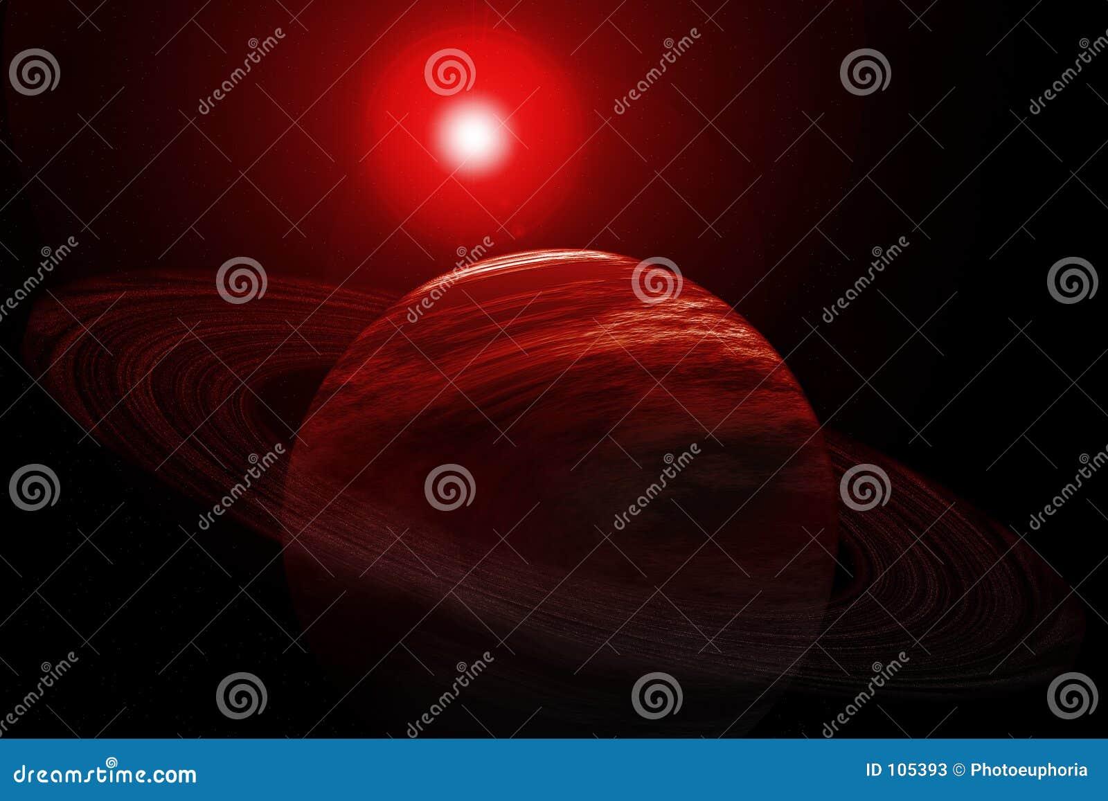 Planeta vermelho com anéis, estrelas e Sun