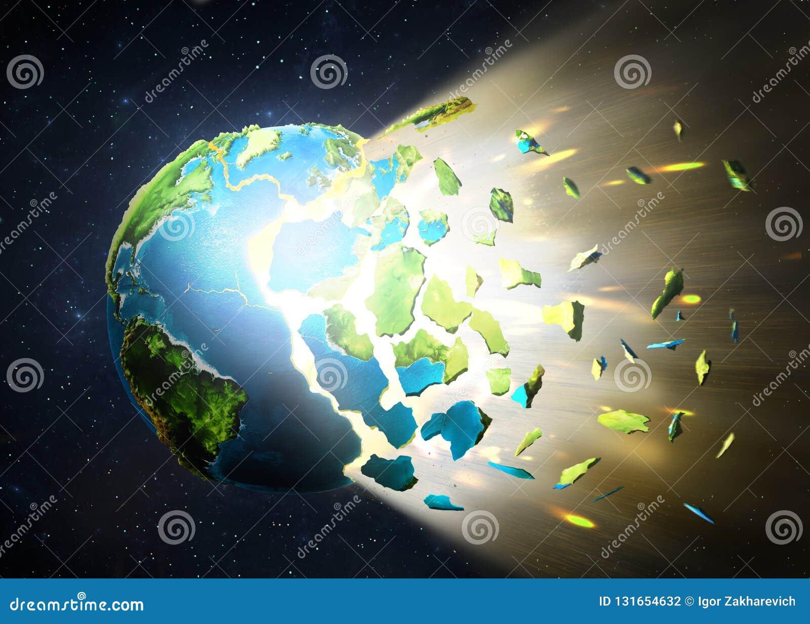 Planeta wybucha, rozpraszający w kawałki na przestrzeni