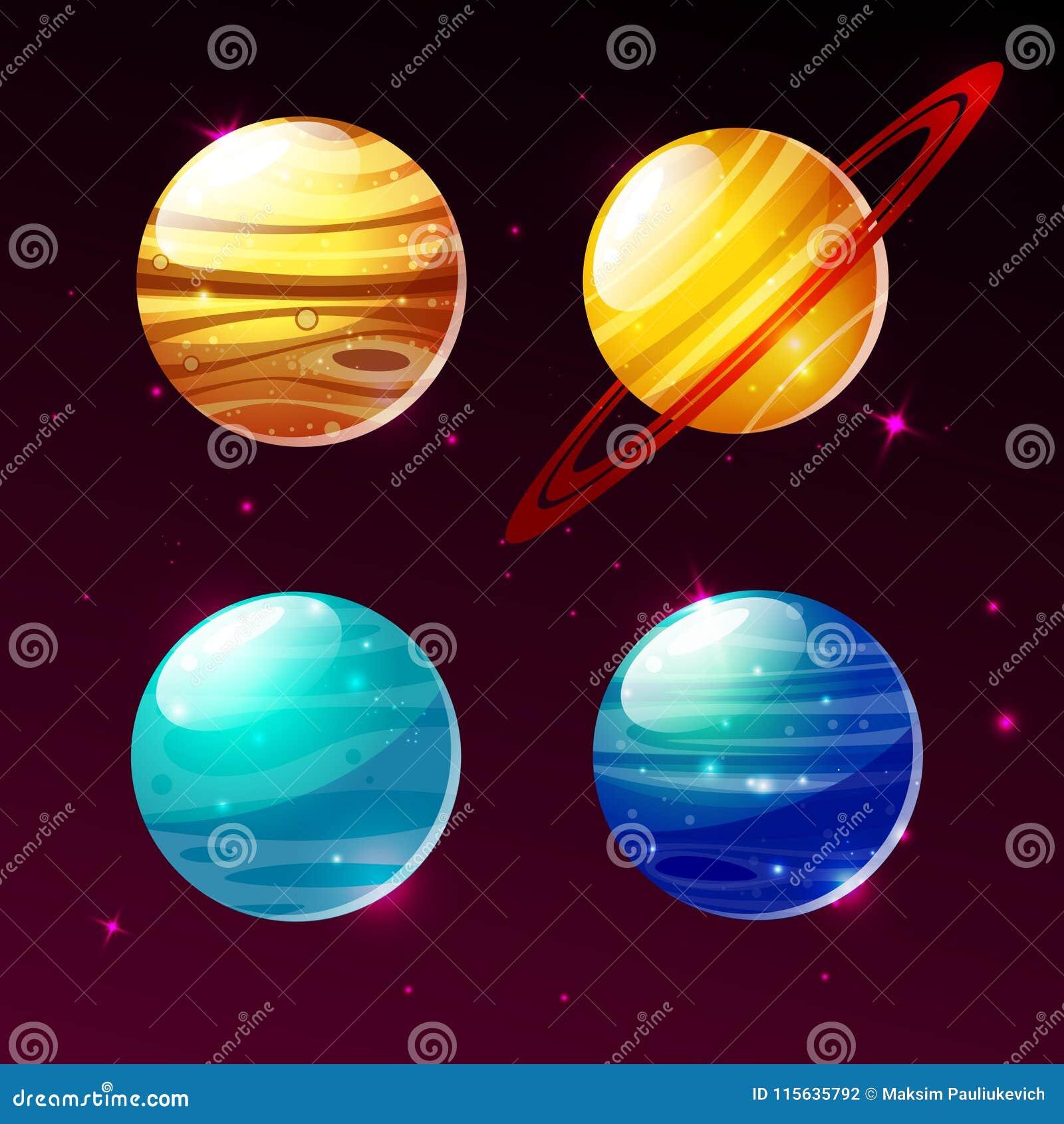 Planetas Do Sistema Solar Na Ilustracao Dos Desenhos Animados Do