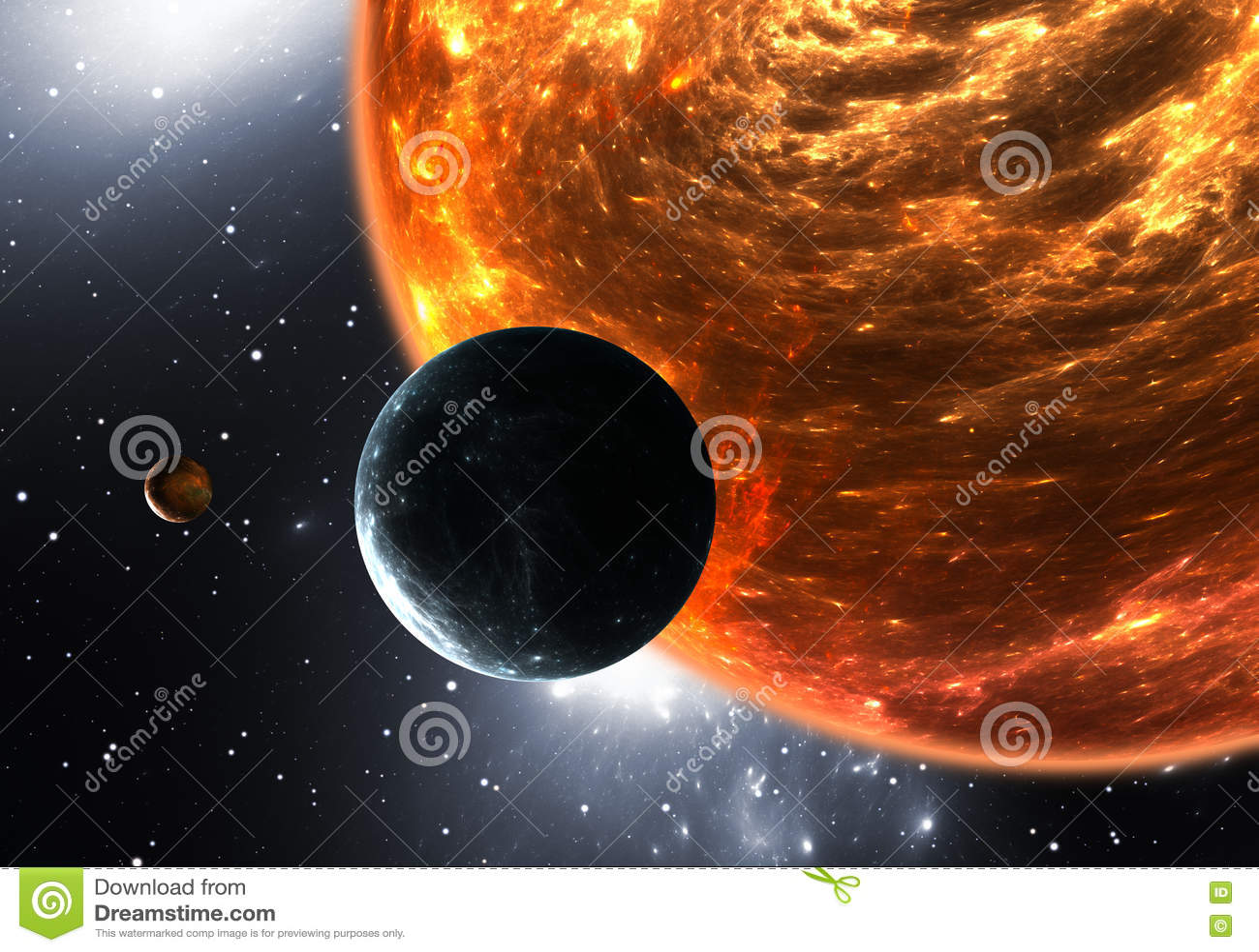 Planetas ou exoplanets Extrasolar e supergiant vermelho do anão ou o vermelho